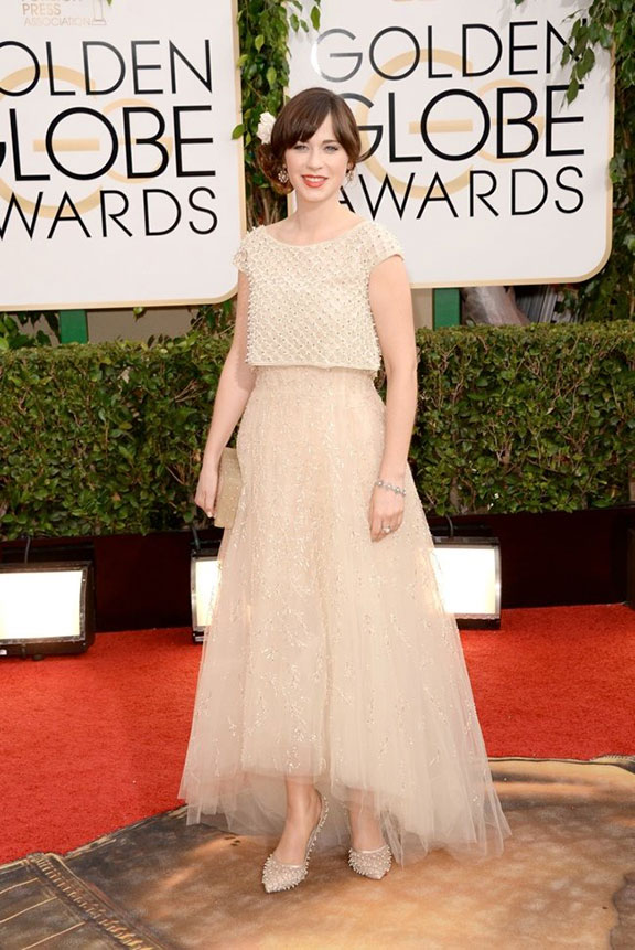 golden globes, red carpet fashion, dresses, celebrity fashion,  zooey deschanel