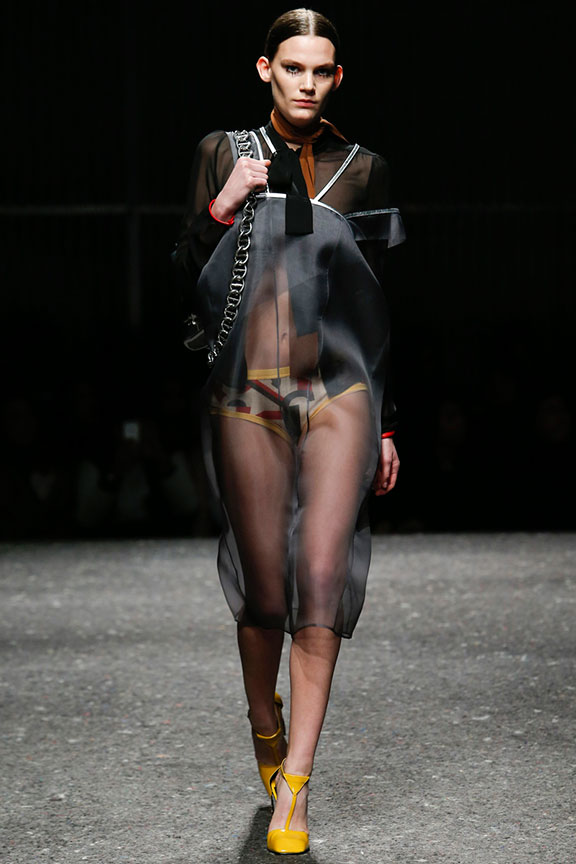 Prada Dresses Fall 2014 sheer dresses with what looks