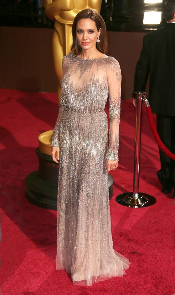 oscars, red carpet, 2014, academy awards, evening wear, celebrities, angelina jolie