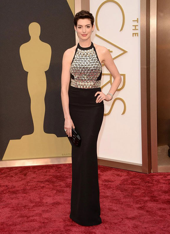 oscars, red carpet, 2014, academy awards, evening wear, celebrities, anne hathaway, gucci