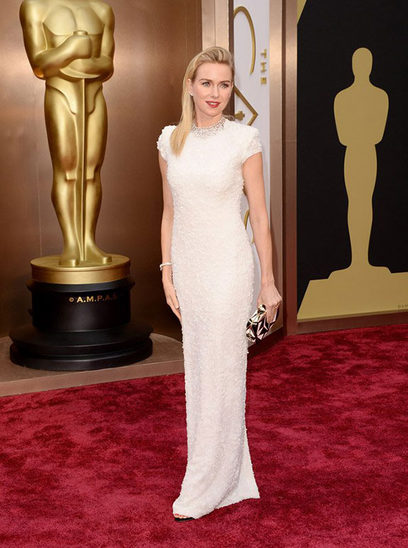 oscars, red carpet, 2014, academy awards, evening wear, celebrities, naomi watts, calvin klein