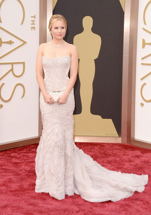 oscars, red carpet, 2014, academy awards, evening wear, celebrities, kristin bell, roberto cavalli