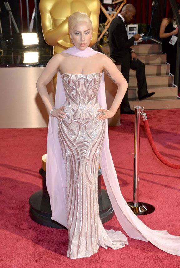 oscars, red carpet, 2014, academy awards, evening wear, celebrities, lady gaga, versace
