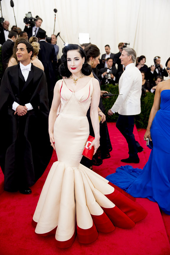 met costume gala, red carpet, vogue, celebrities, evening wear, dita von teese, zac posen