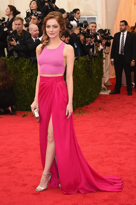 met costume gala, red carpet, vogue, celebrities, evening wear, emma stone
