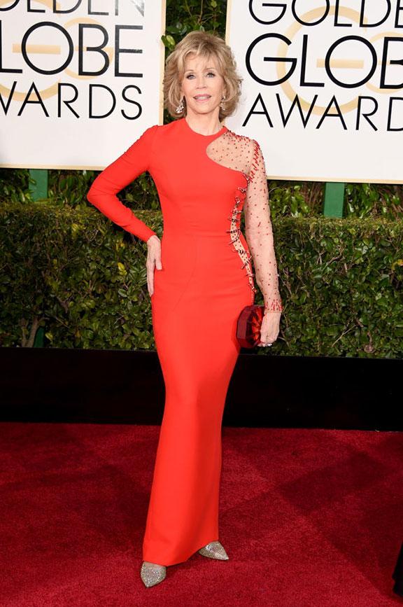 red carpet, golden globes, celebrity fashion, evening wear, jane fonda
