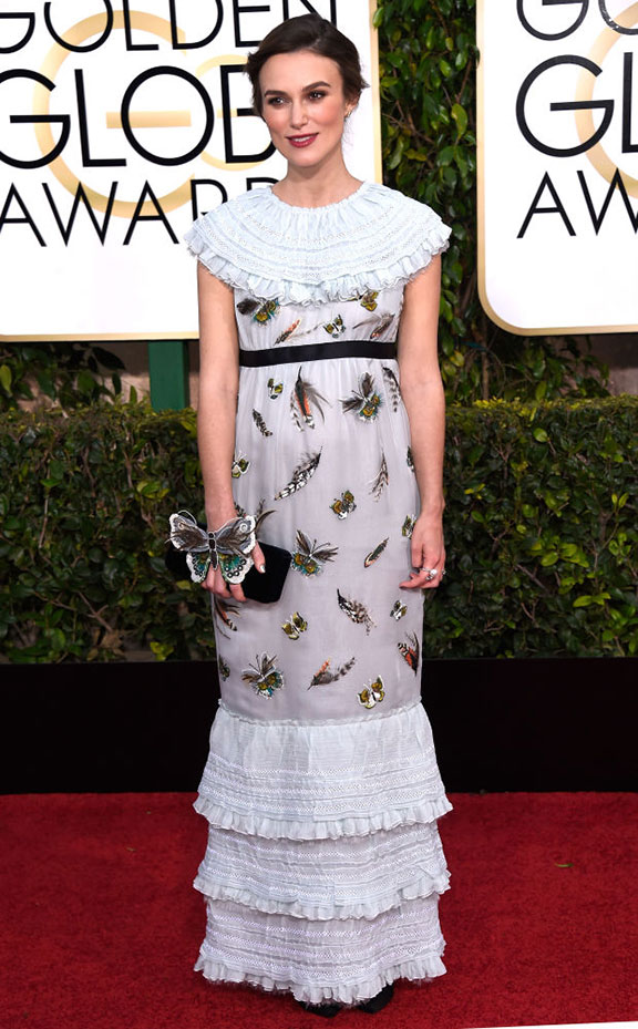 red carpet, golden globes, celebrity fashion, evening wear, keira knightley, chanel
