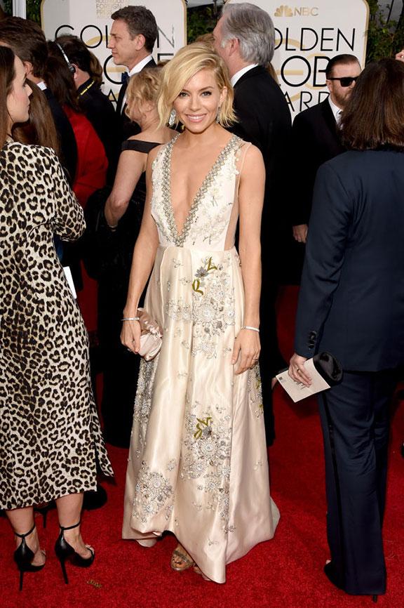 red carpet, golden globes, celebrity fashion, evening wear, sienna miller, miu miu