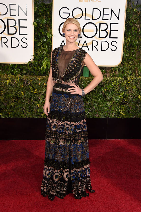 red carpet, golden globes, celebrity fashion, evening wear, claire danes, valentino