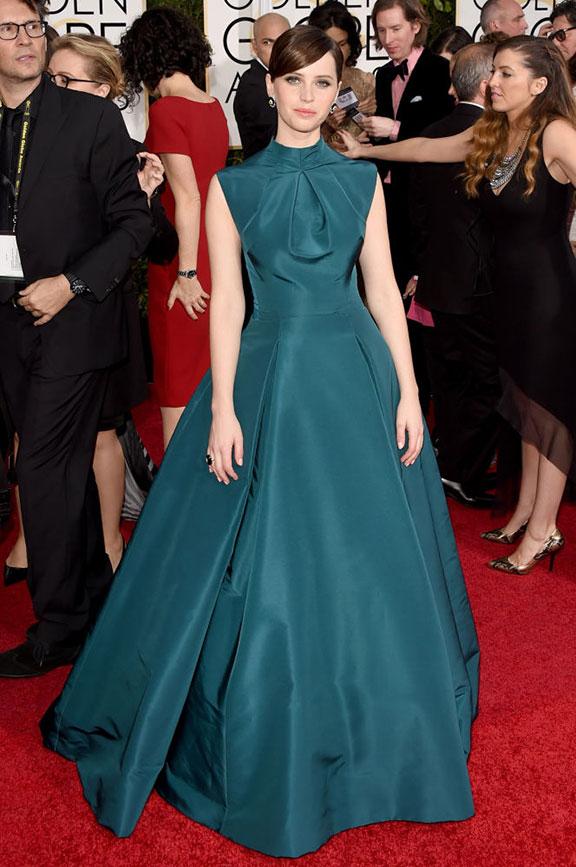 red carpet, golden globes, celebrity fashion, evening wear, felicity jones, christian dior