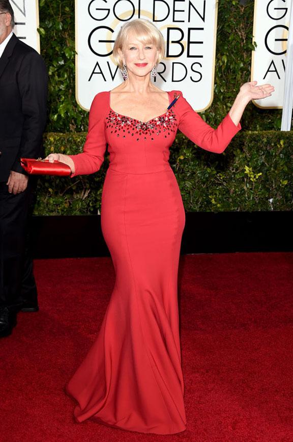 red carpet, golden globes, celebrity fashion, evening wear, helen mirren, dolce & Gabbana