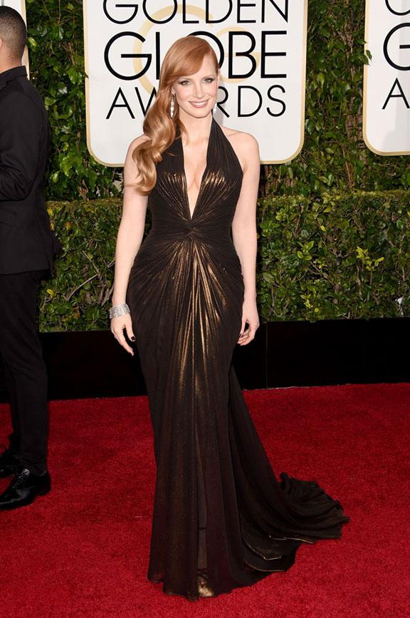 red carpet, golden globes, celebrity fashion, evening wear, , jessica chastain, versace