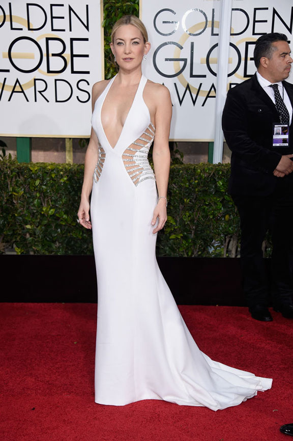 red carpet, golden globes, celebrity fashion, evening wear, kate hudson, versace